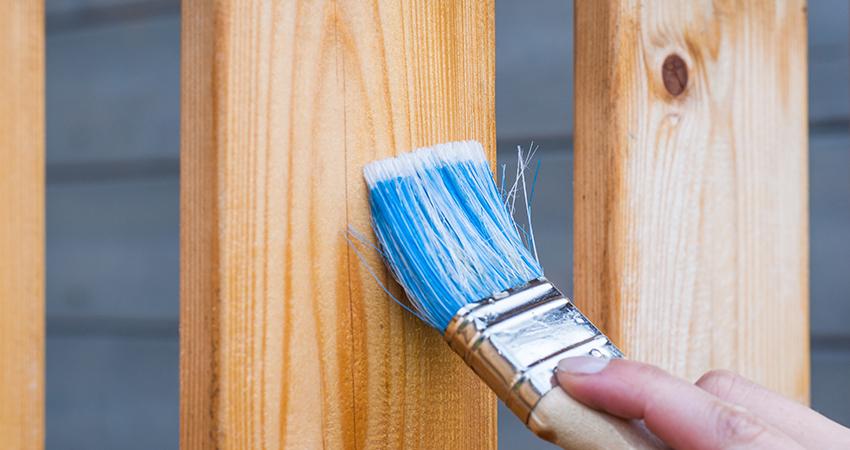 paint brush on pine wood