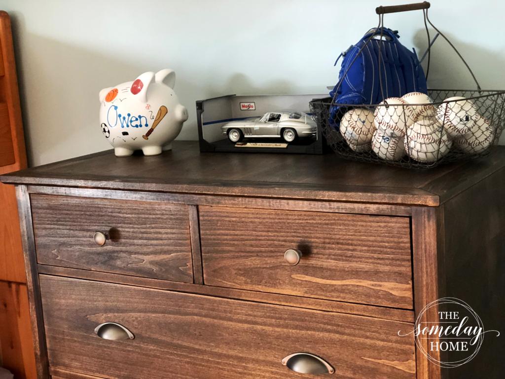piggy bank car baseballs baseball glove