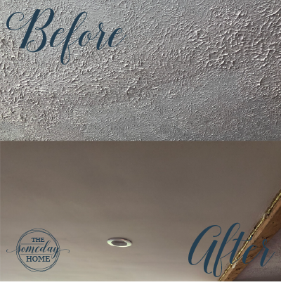 split screen of textured and smooth ceiling