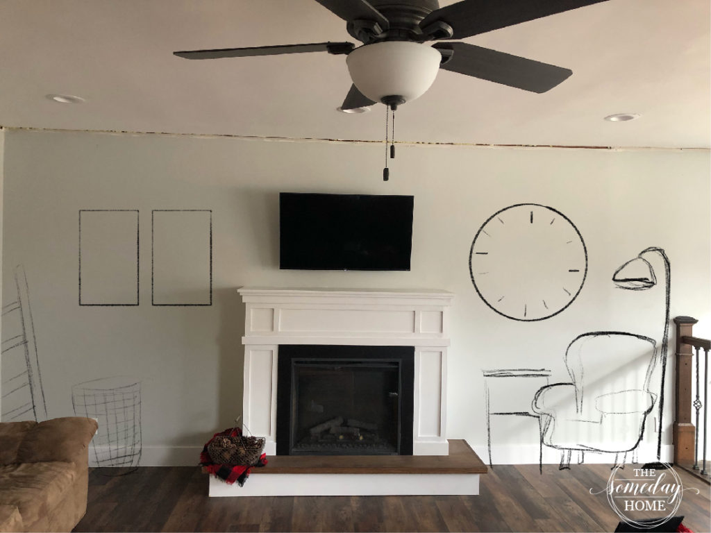 white fireplace with dark tv mounted to wall above