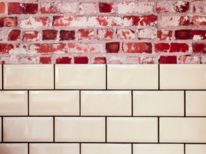 white tile with contrasting grout