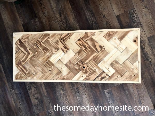 diy herringbone table top on wooden floor