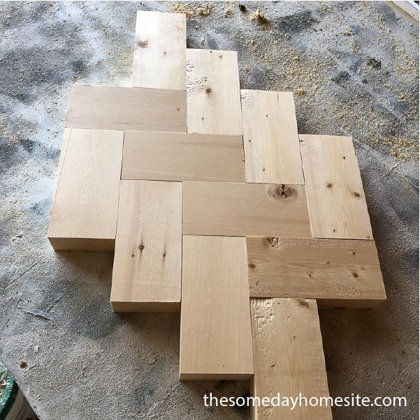 pine blocks in herringbone pattern