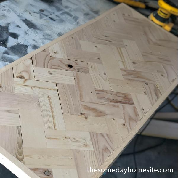 diy herringbone table top pre stain