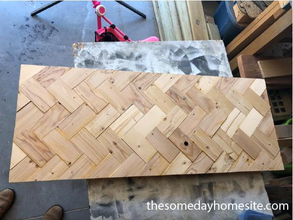 diy herringbone table before side trim