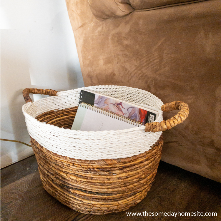 brown and white basket