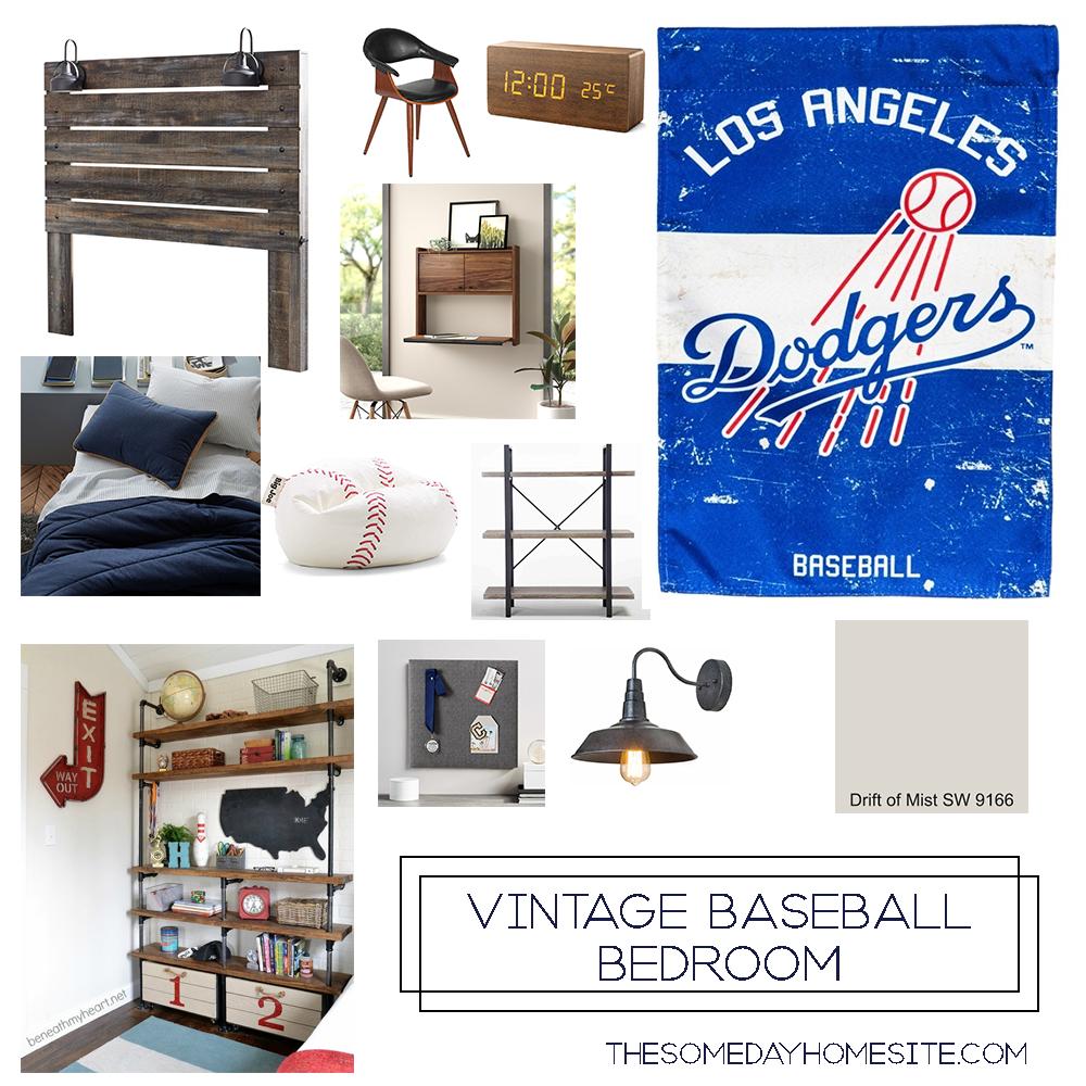 vintage baseball boys bedroom moodboard