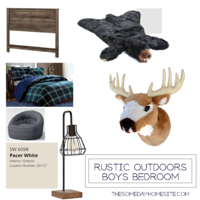 moodboard for a rustic outdoors boys bedroom; plaid comforter, wooden headboard, stuffed black bear rug, stuffed dear head